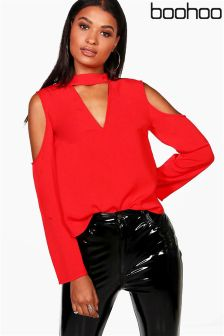 Boohoo Cold Shoulder Choker Neck Blouse
