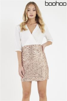 Boohoo Wrap Top Sequin Skirt Bodycon Dress