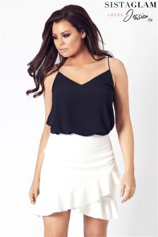 Jessica Wright Asymmetric Frill Short Skirt