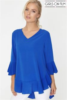 Girls On Film Frill Hem Flare Sleeve Top