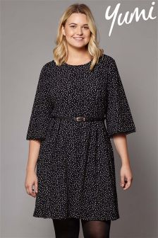 Yumi Curve Polka Dot Pleated Dress