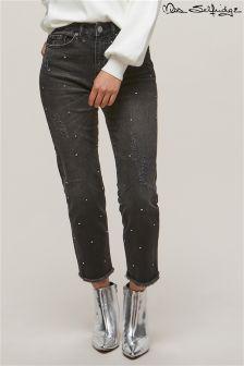 Прямые джинсы со средней посадкой и стразами Miss Selfridge