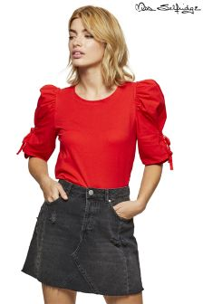 Miss Selfridge Poplin Volume Sleeve Tie Side Top