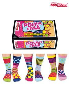Cockney Spaniel Polka Face Odd Socks - Pack Of 6