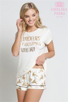 Chelsea Peers Christmas Unicorn Pyjama Short Set