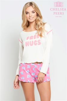 """Комплект с шортами Chelsea Peers с надписью """"Free Hugs"""""""