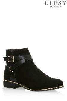 Lipsy Flat Buckle Detail Ankle Boots