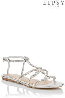 Lipsy Diamanté Detail Flat Sandals