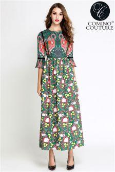 Comino Couture Flamingo Print Maxi Dress