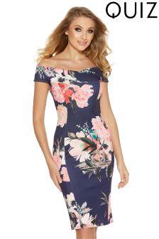 Quiz Flower Print Bardot Midi Dress