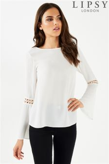 Lipsy Fluted Sleeve Blouse With Trim Detail