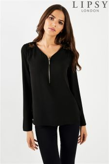 Lipsy Lace Insert Zip Front Blouse