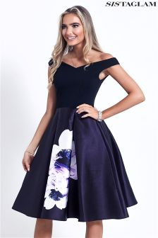 Sistaglam Floral Off Shoulder Prom Dress
