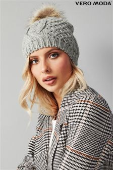 Vero Moda Cable Faux Fur Knitted Wool Hat