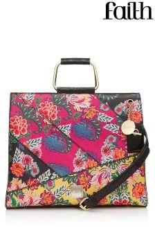 Faith Floral Patchwork Metal Handle Grab Bag