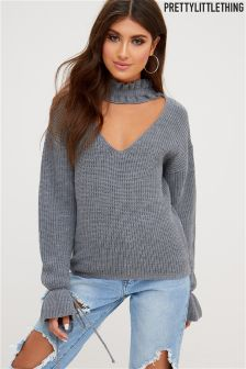 PrettyLittleThing Knitted Frill Collar Jumper