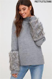 PrettyLittleThing Faux Fur Sleeve Jumper