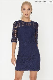 Little Mistress Navy Crochet Shift Dress