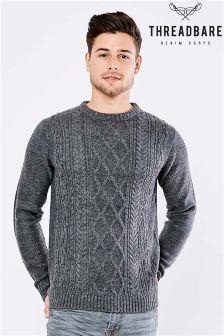 Sweter Threadbare o splocie warkoczonym, z okrągłym dekoltem