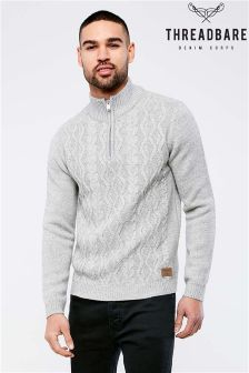 Threadbare Zipped Neck Jumper