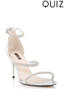 Quiz Diamanté Strap Heeled Sandals