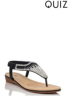 Quiz Diamanté Flat Sandals