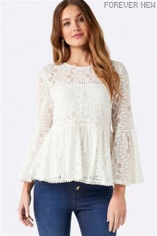 Forever New Embroidered Lace Long Sleeve Top