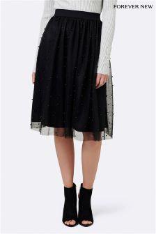 Forever New Bree Pearl Mesh Midi Skirt