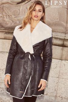 Lipsy Faux Fur Suedette Wrap Coat