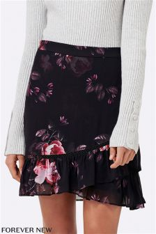 Forever New Ruffle Printed Mini Skirt