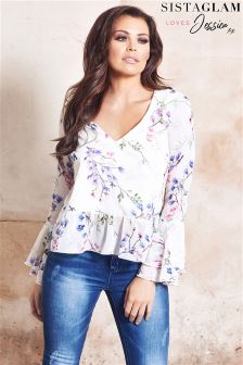 Jessica Wright Floral Bell Sleeve Blouse