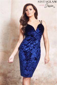 Jessica Wright Velvet Wrap Front Cami Strap Dress