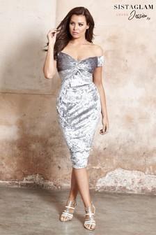 Jessica Wright Bardot Velvet Knot Bodycon Dress