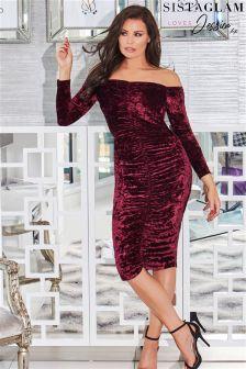 Jessica Wright Velvet Mesh And Frill Bodycon Dress