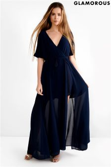 Glamorous Curve Wrap Over Maxi Dress