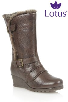 Lotus Wedge Ankle Boots