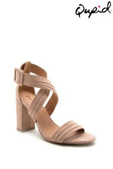 Qupid Block Heel Cross Strap Sandal