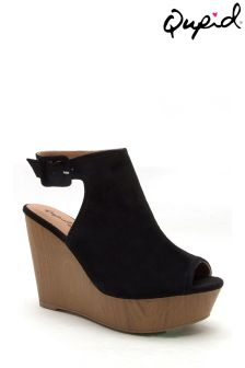 Qupid Sling Back Wedge