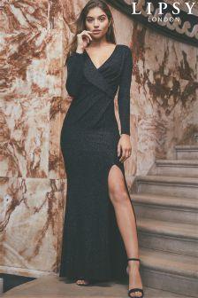 Lipsy Glitter Longsleeve Wrap Maxi Dress
