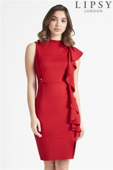 Lipsy Ruffle High Neck Midi Dress