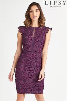 Lipsy Love Michelle Keegan Lace Frill Cap Sleeve Bodycon Dress