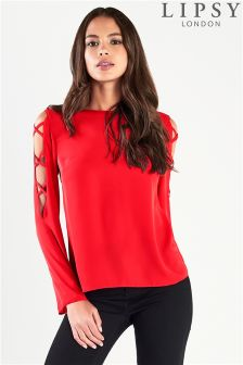 Lipsy Criss Cross Long Sleeve Top