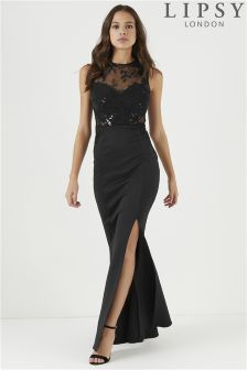 Lipsy Petite Embroidered Sequin Insert Maxi Dress