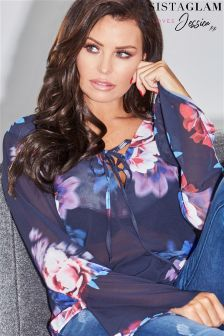 Jessica Wright Lace Up Floral Blouse