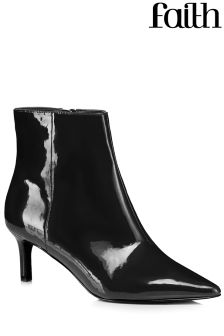Faith Patent Kitten Heel Boots