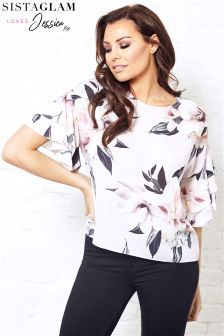 Jessica Wright Short Frill Sleeve Floral Print