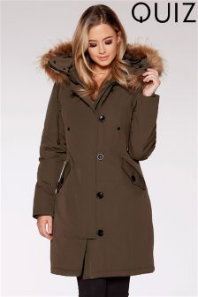 Quiz Faux Fur Hood Trim Parka Jacket