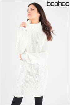 Boohoo Roll Neck Cable Front Jumper Dress