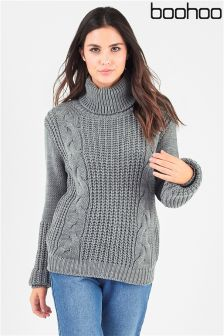 Boohoo Roll Neck Cable Front Jumper