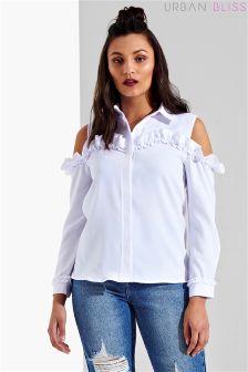 Urban Bliss Ruffle Cold Shoulder Shirt